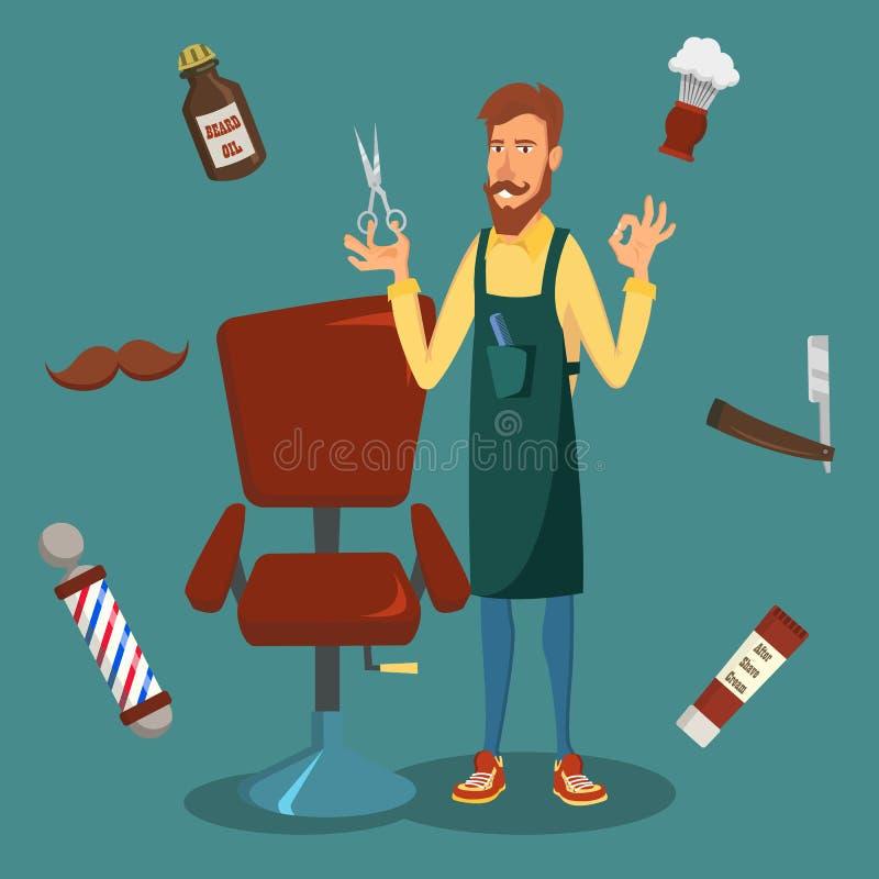 Милый вектор парикмахера Человек парикмахера битника шаржа счастливый Профессиональный парикмахер готовый для того чтобы сделать  иллюстрация вектора