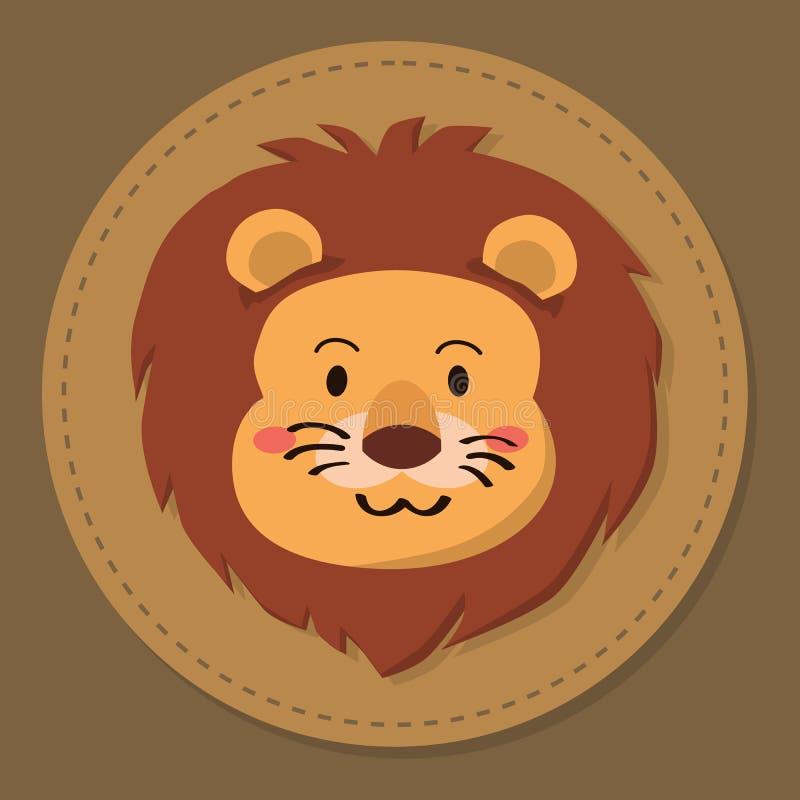 Милый вектор шаржа головы льва иллюстрация вектора