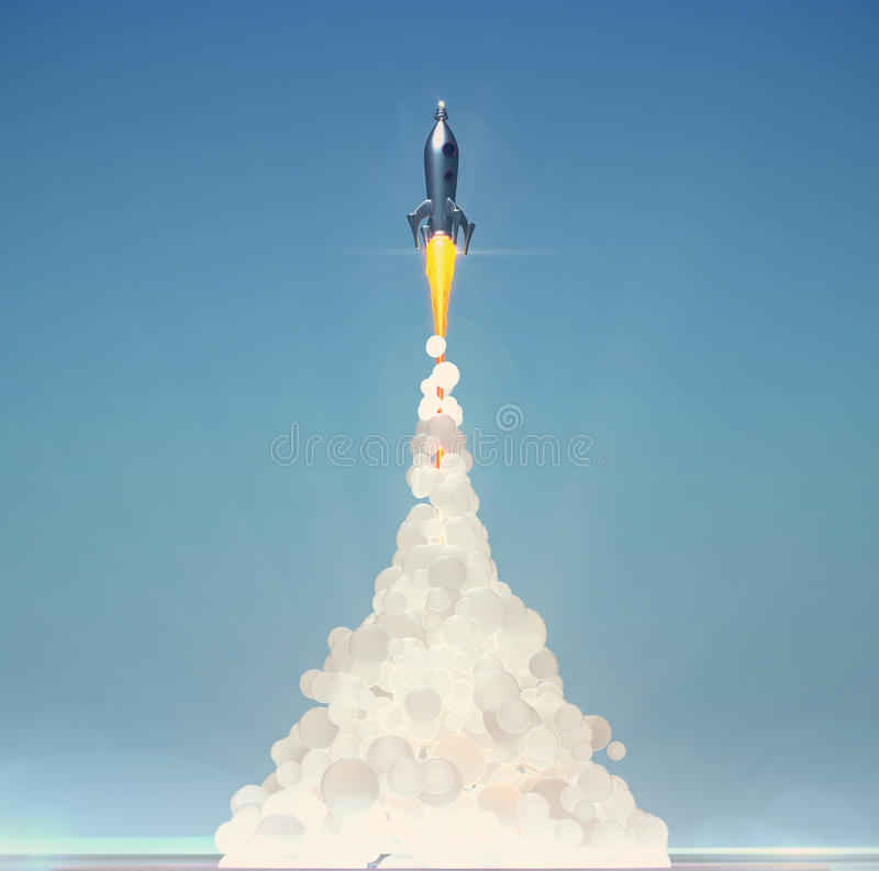 Милый винтажный старт ракеты с мягким пушистым дымом на свете - голубая предпосылка 3d представляет иллюстрация штока