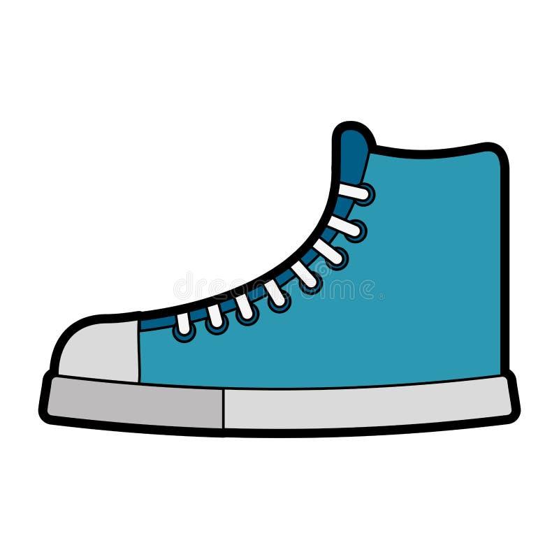 Милый голубой шарж ботинка иллюстрация штока