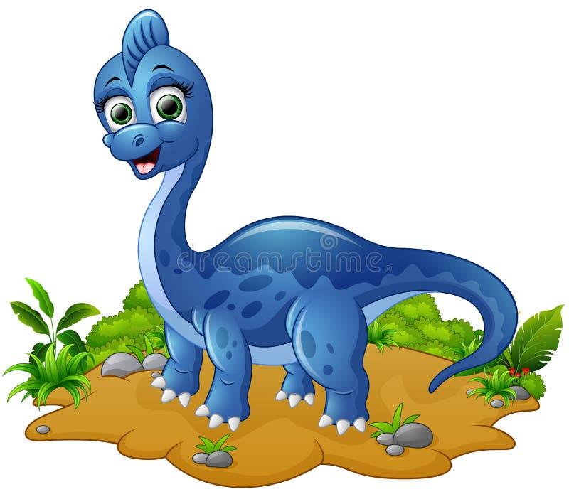 Милый голубой шарж динозавра иллюстрация вектора