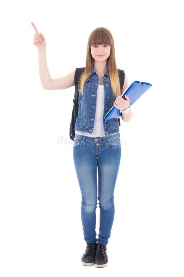 Милый девочка-подросток указывая к стороне стоковые фото