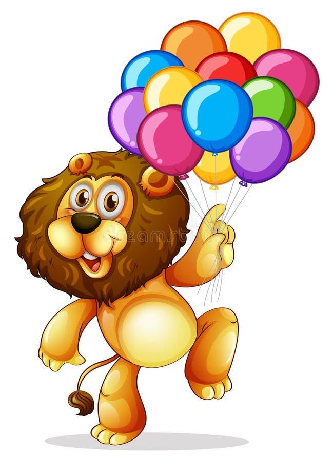 Милый лев с красочными воздушными шарами бесплатная иллюстрация
