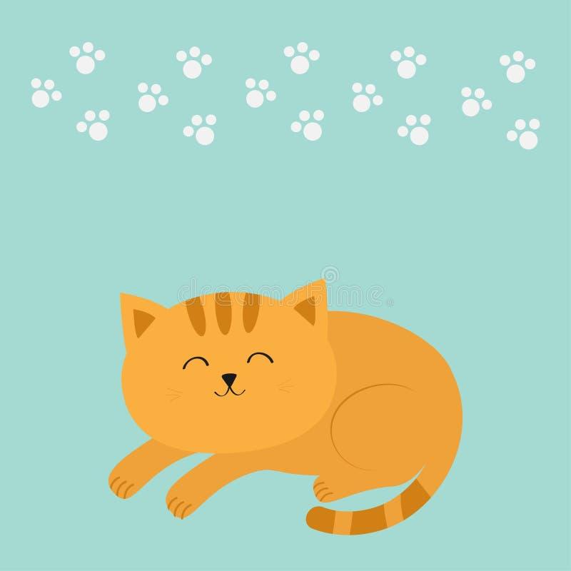 Милый лежа кот спать оранжевый с вискером усика персонаж из мультфильма смешной Белая животная печать лапки background card congr иллюстрация вектора