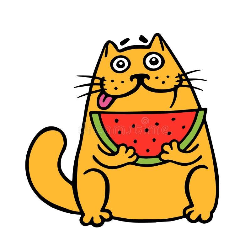 Милый денежный мешок ест арбуз Кот Изолированная иллюстрация вектора бесплатная иллюстрация