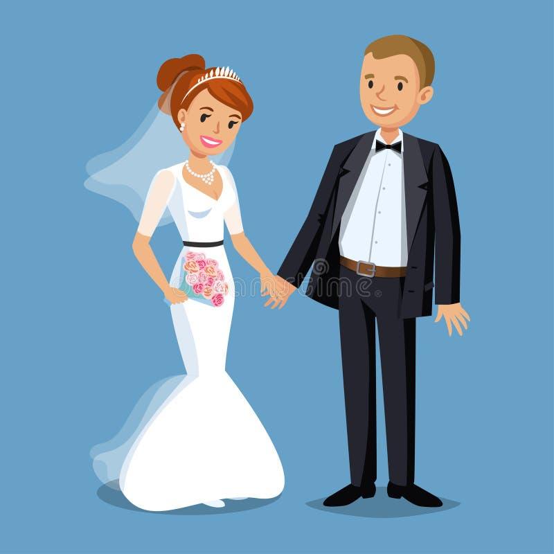 Милый жених и невеста, иллюстрация свадебного банкета установленная иллюстрация штока
