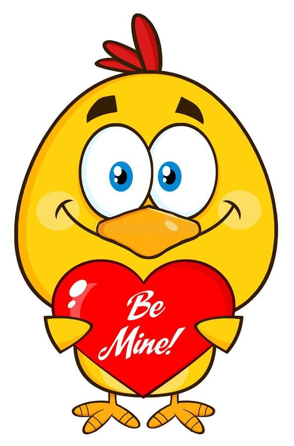 Милый желтый персонаж из мультфильма цыпленока держа сердце бесплатная иллюстрация