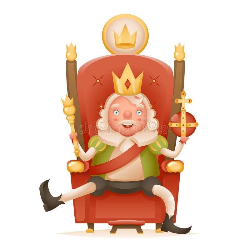 Милый жизнерадостный правитель короля на кроне трона на головной силе и изолированный скипетр в реалистическом персонажа из мульт бесплатная иллюстрация
