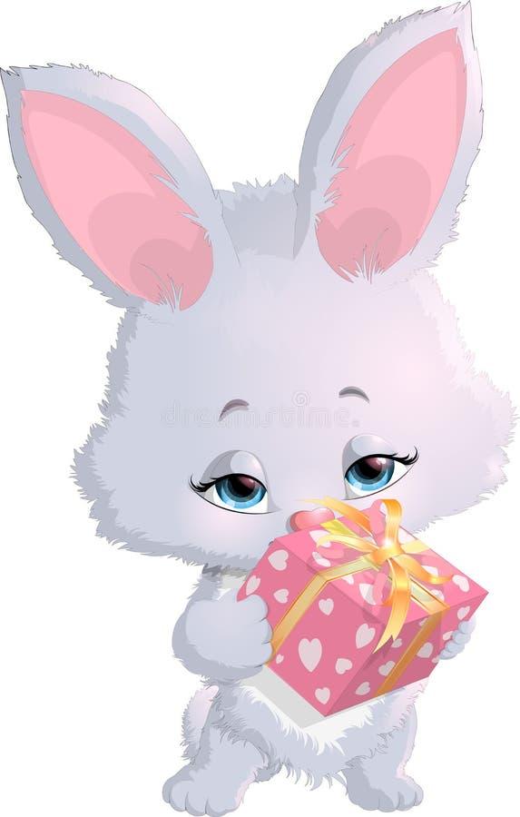Милый зайчик держа коробку с подарками бесплатная иллюстрация