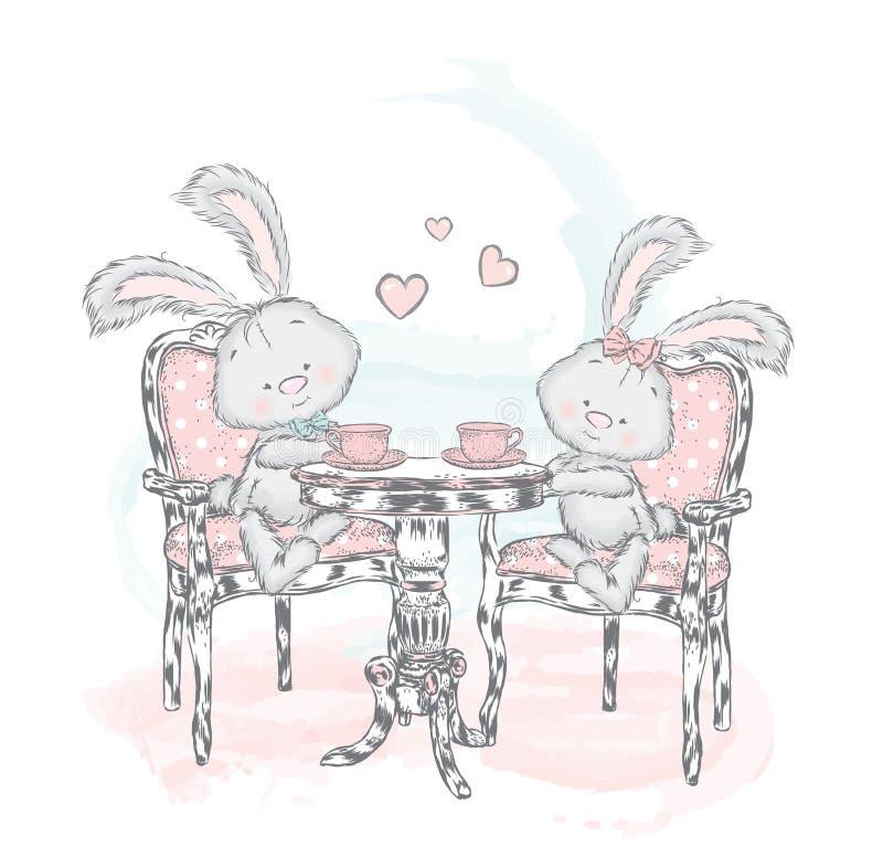 Милый зайчик на чае таблицы выпивая кролики иллюстрация вектора
