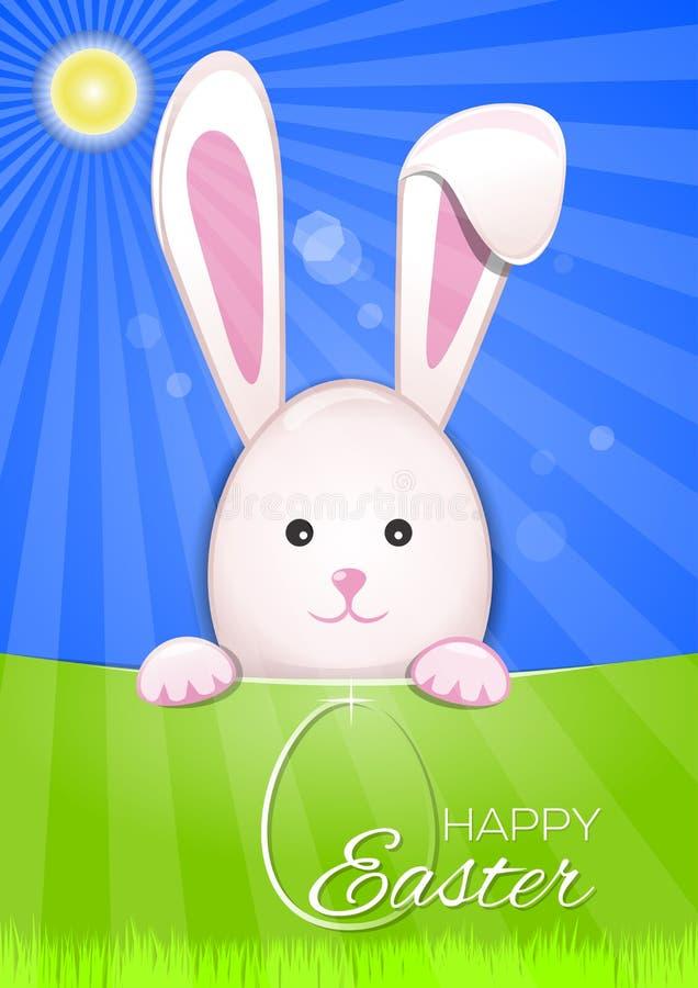 Милый зайчик пасхи на небесно-голубой предпосылке Пасхальное яйцо и надпись приветствию - счастливая пасха бесплатная иллюстрация