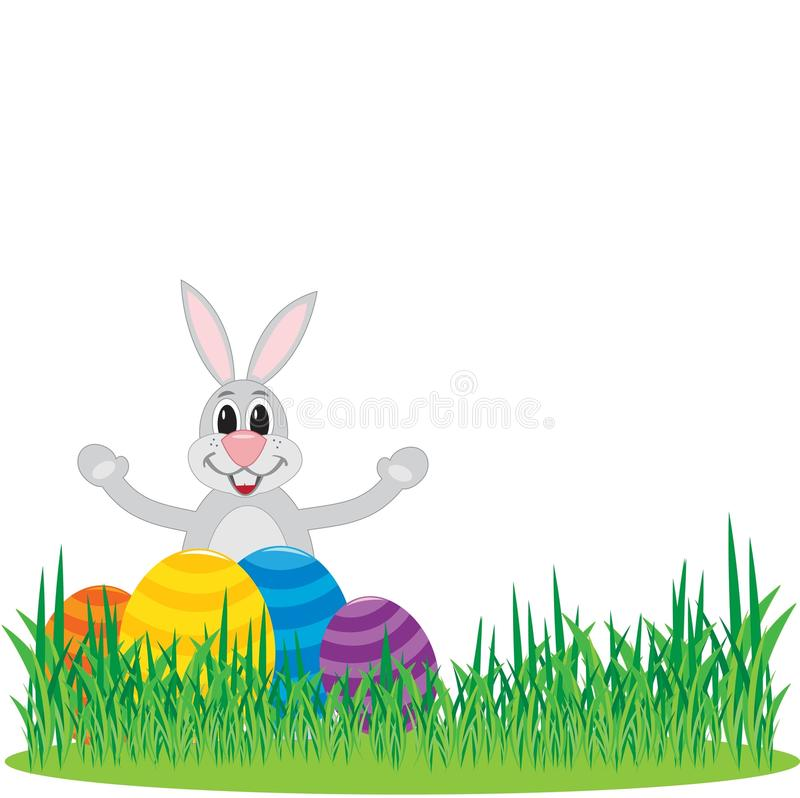 Милый зайчик с пасхальными яйцами стоковые изображения rf