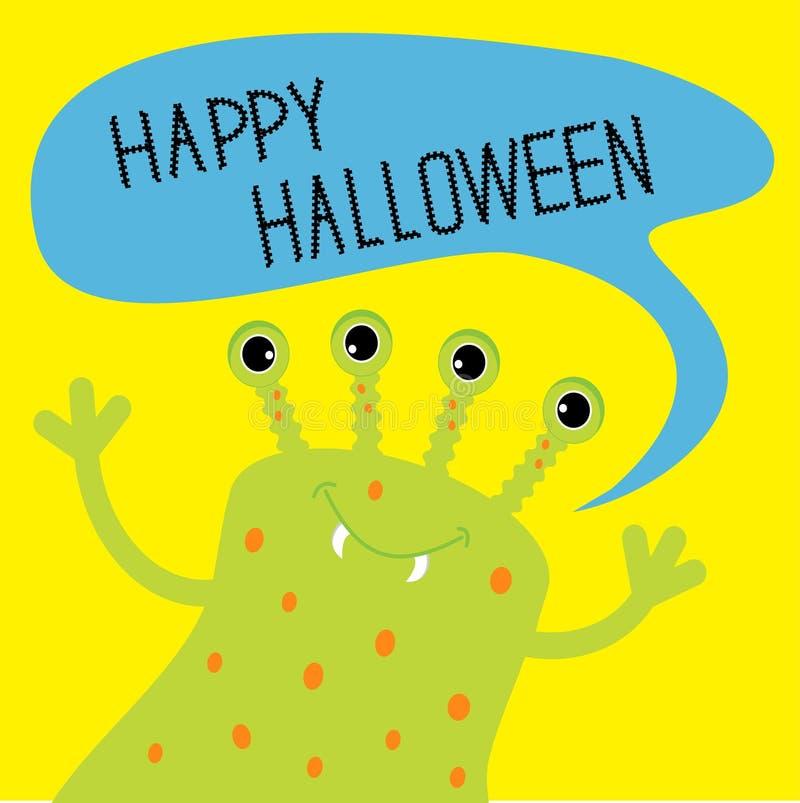 Милый зеленый изверг с пузырем текста речи карточка halloween счастливый Плоский дизайн бесплатная иллюстрация