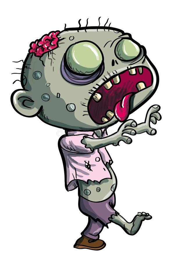 Милый зеленый шарж зомби иллюстрация вектора