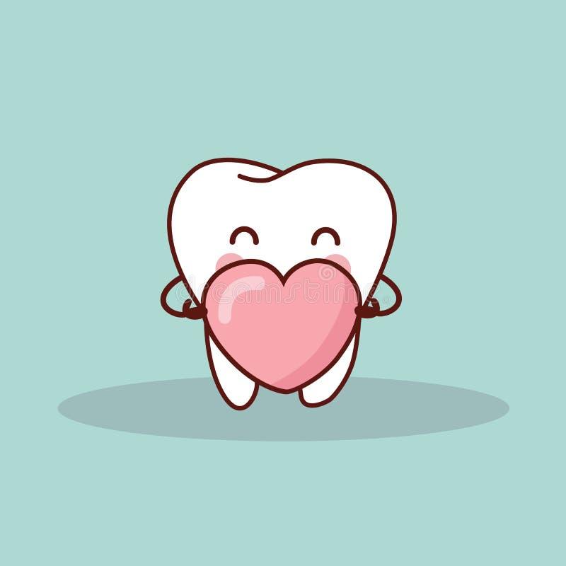 Милый зуб шаржа с влюбленностью иллюстрация штока