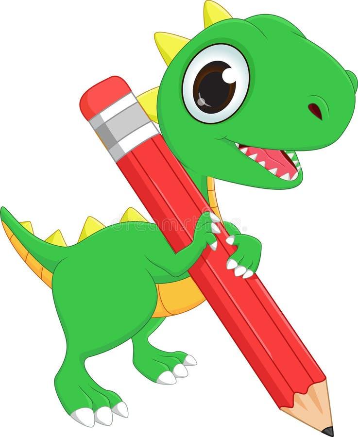 Милый динозавр шаржа с карандашем бесплатная иллюстрация