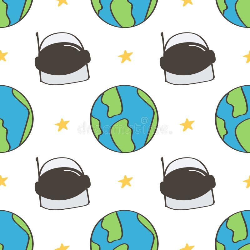 Милый и красочный космос doodles безшовная предпосылка картины с шлемом космонавта и землей планеты иллюстрация вектора