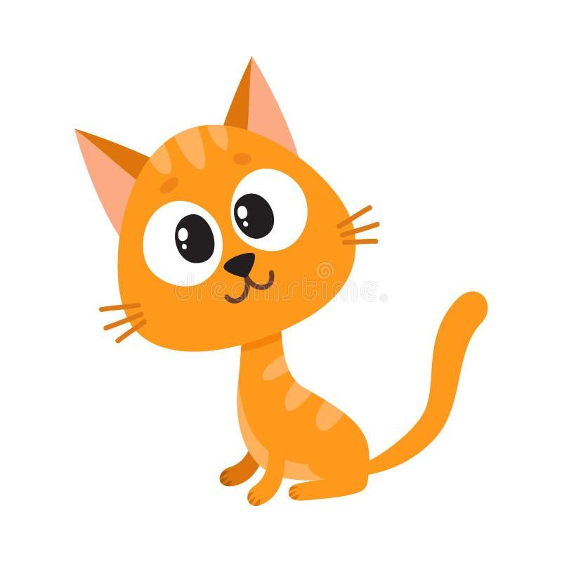 Милый и смешной красный характер кота, удивленное усаживание, смотря любознательно, бесплатная иллюстрация