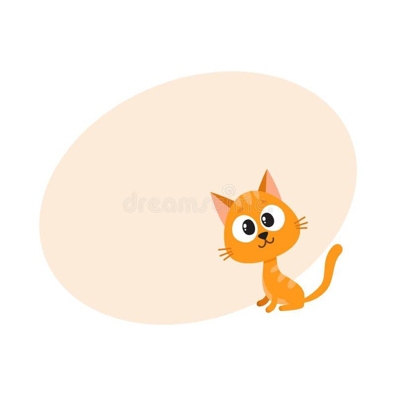 Милый и смешной красный характер кота, удивленное усаживание, смотря любознательно, иллюстрация штока