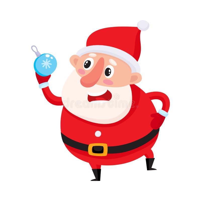 Милый и смешной Санта Клаус с шариком украшения рождественской елки бесплатная иллюстрация