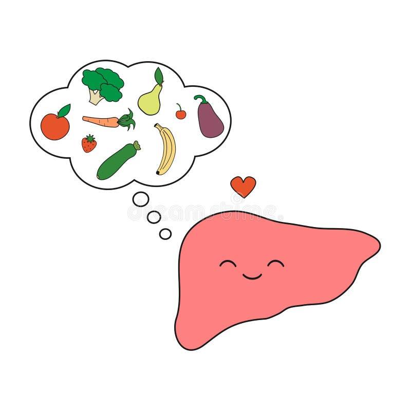 Милый и смешной, усмехаясь человеческий характер печени думая здоровая иллюстрация концепции шаржа еды изолированная на белом bac иллюстрация вектора