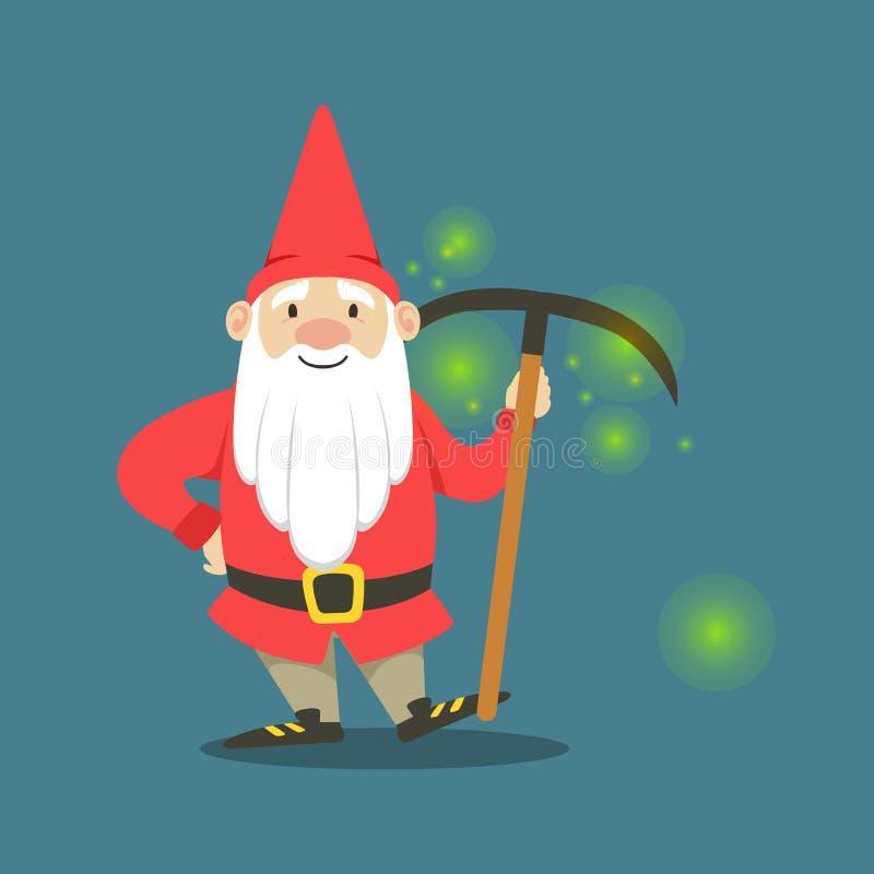 Милый карлик в красной куртке и шляпа стоя с обушком vector иллюстрация бесплатная иллюстрация