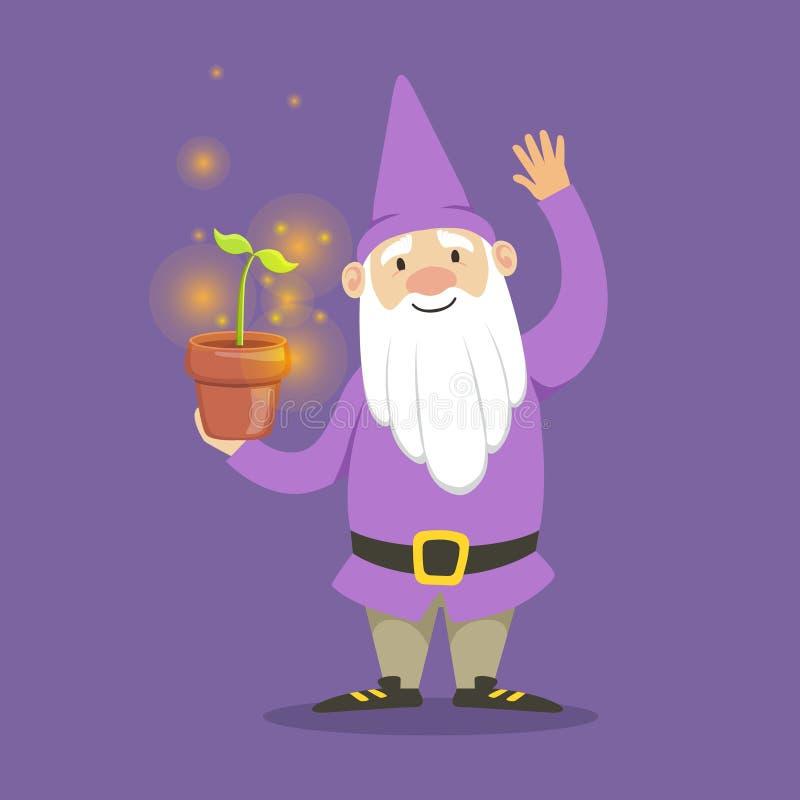 Милый карлик в фиолетовом цветочном горшке куртки и шляпы стоящем vector иллюстрация иллюстрация штока