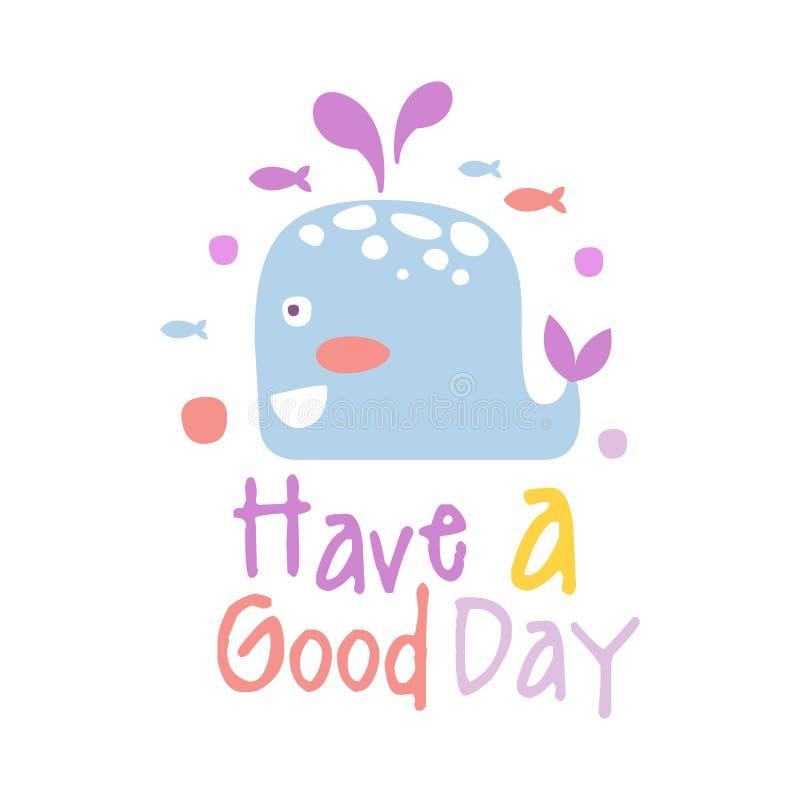 Милый кит шаржа 2 Имейте иллюстрацию вектора хорошего дня красочной нарисованную рукой бесплатная иллюстрация