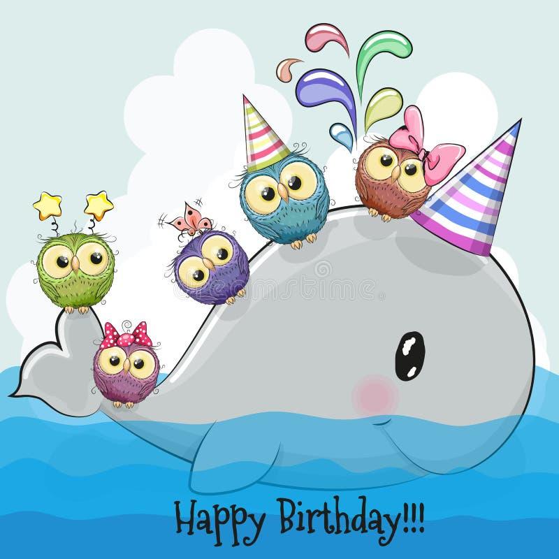 Милый кит шаржа и 5 сычей иллюстрация штока