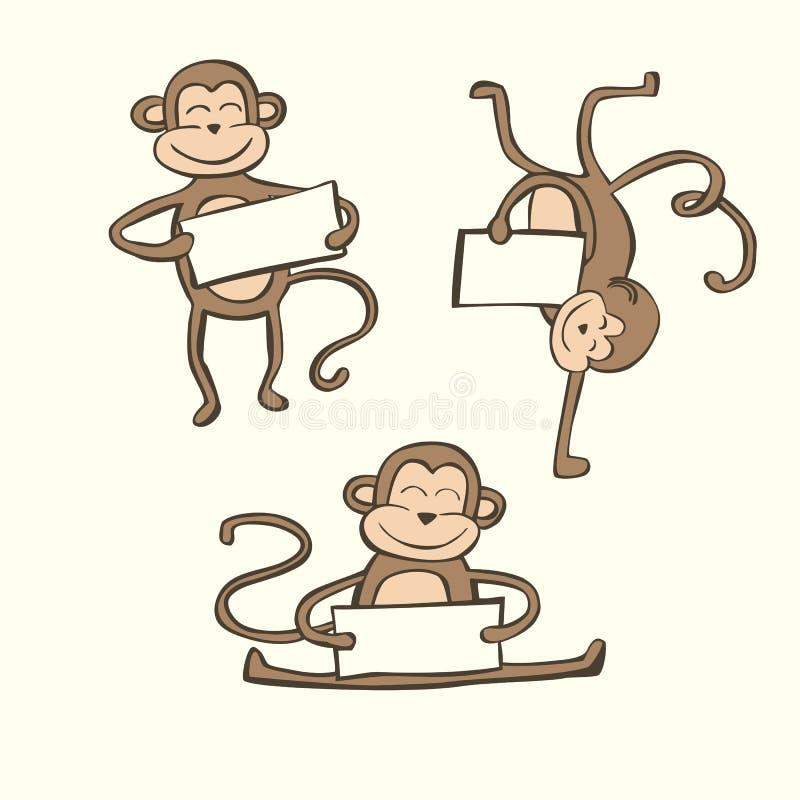 Милый комплект вектора обезьян doodle иллюстрация штока