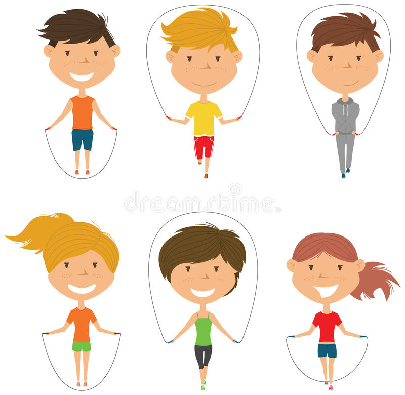 Милый комплект вектора прыгая веревочки мальчиков и девушек бесплатная иллюстрация