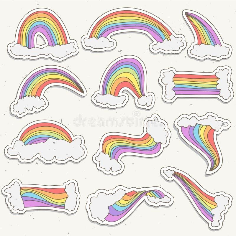 Милый комплект вектора стикера радуги Иллюстрация стикера шаржа радуги с облаками в небе Радуга притяжки руки милая и иллюстрация штока
