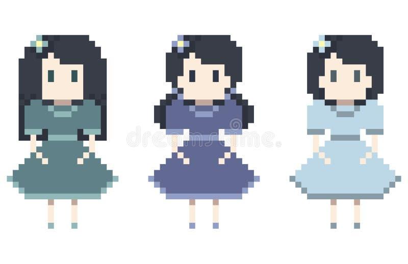 Милый комплект девушки пиксела | Иллюстрация вектора стоковая фотография rf