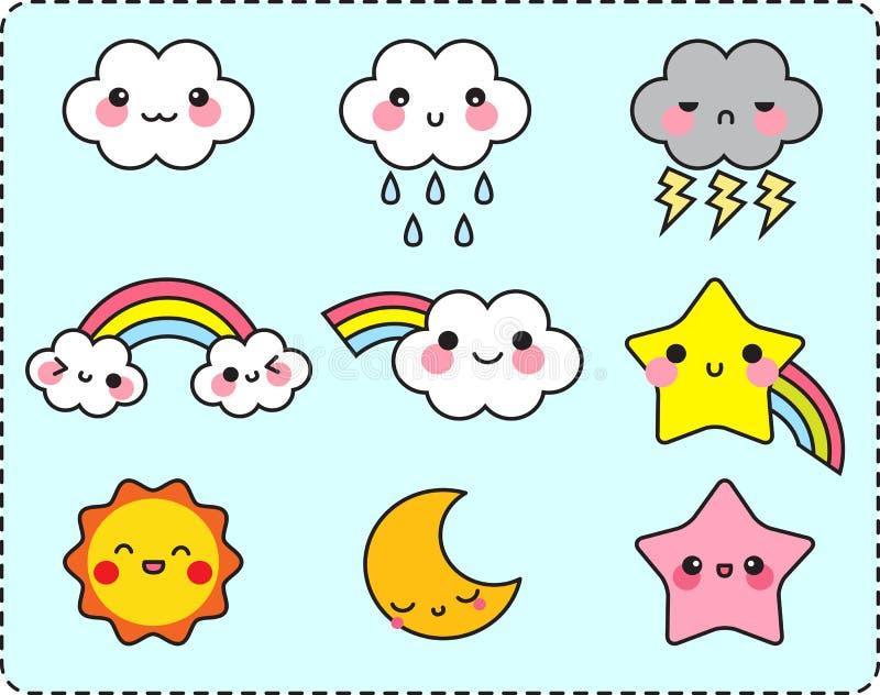 Милый комплект звезды и радуги луны солнца облака иллюстрация вектора