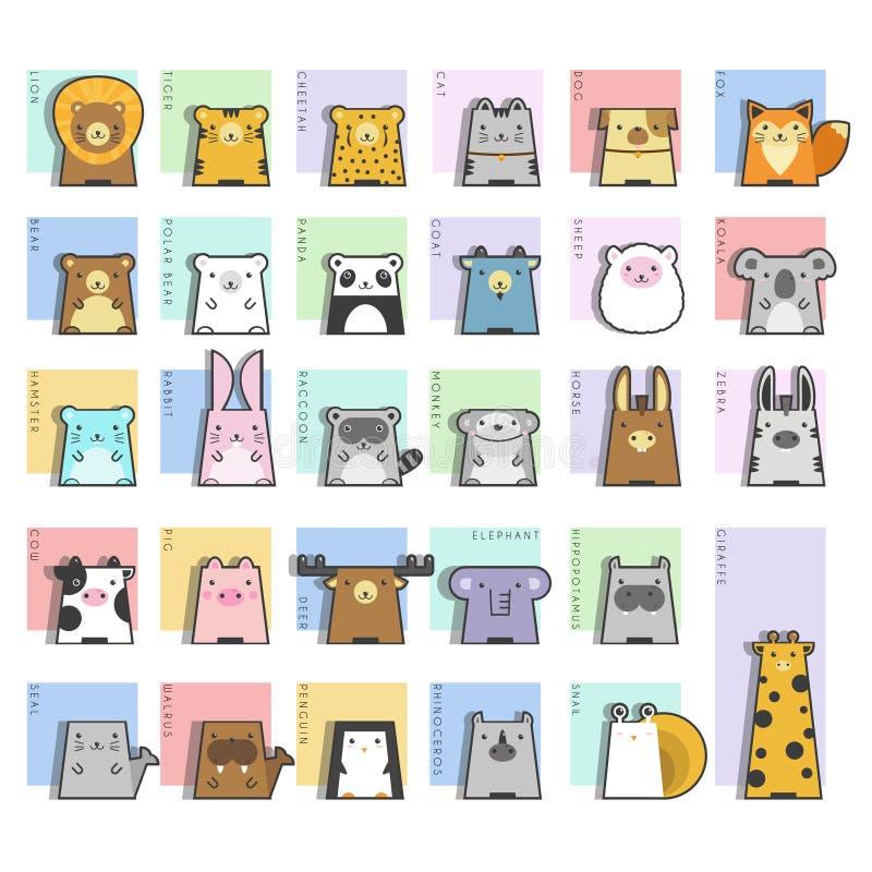 Милый комплект значка животных иллюстрация вектора