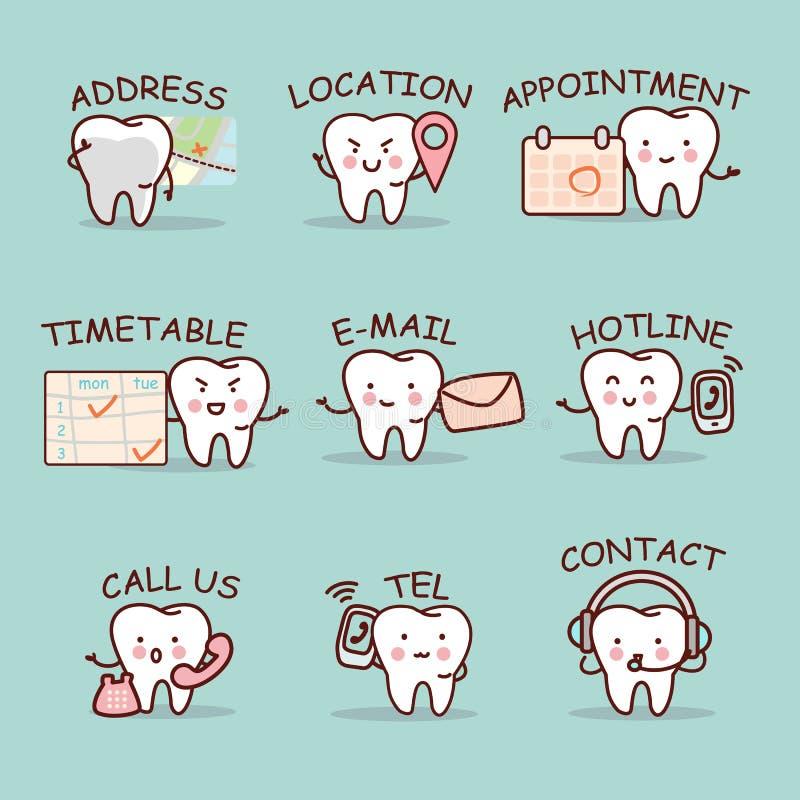 Милый комплект зуба шаржа бесплатная иллюстрация