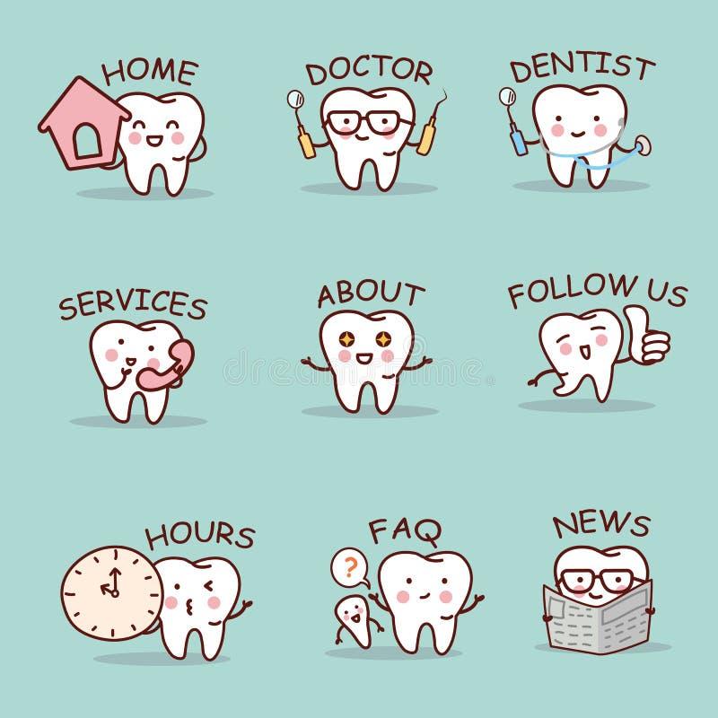 Милый комплект зуба шаржа иллюстрация штока