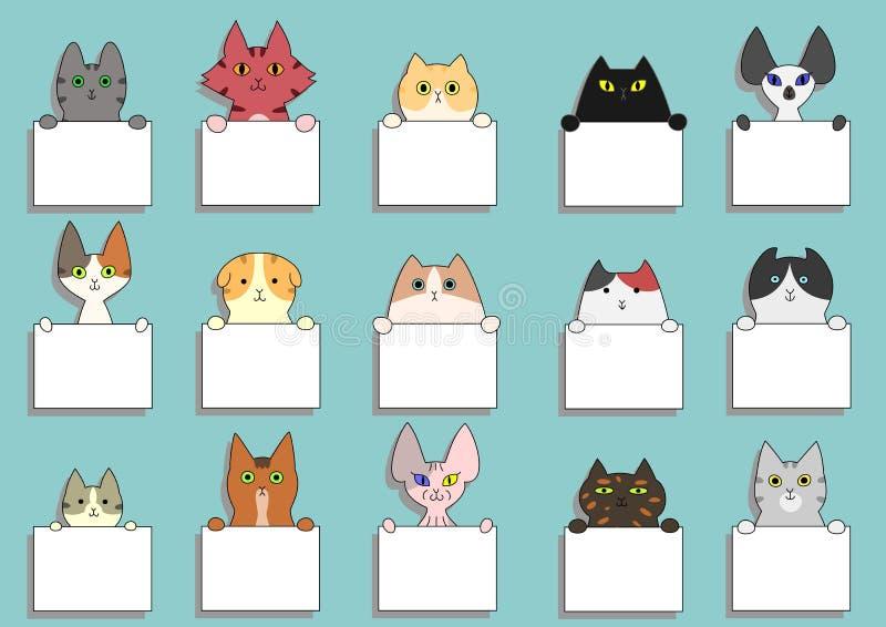 Милый комплект карточки котов иллюстрация штока
