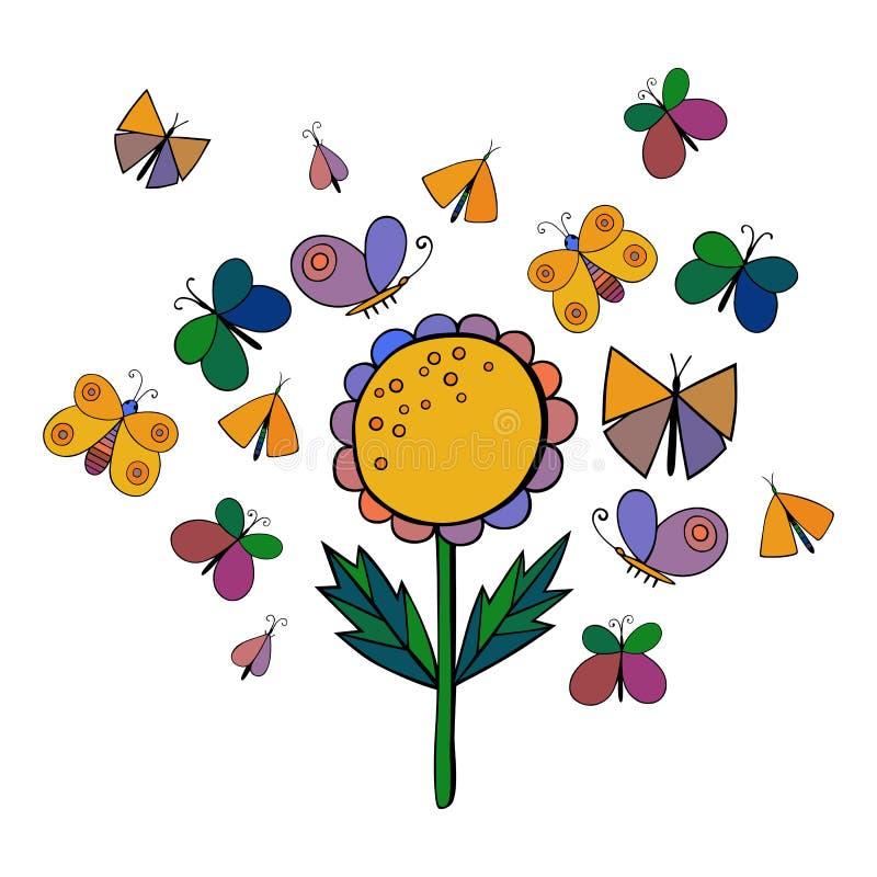 Милый комплект насекомого шаржа Бабочки и цветки также вектор иллюстрации притяжки corel иллюстрация штока