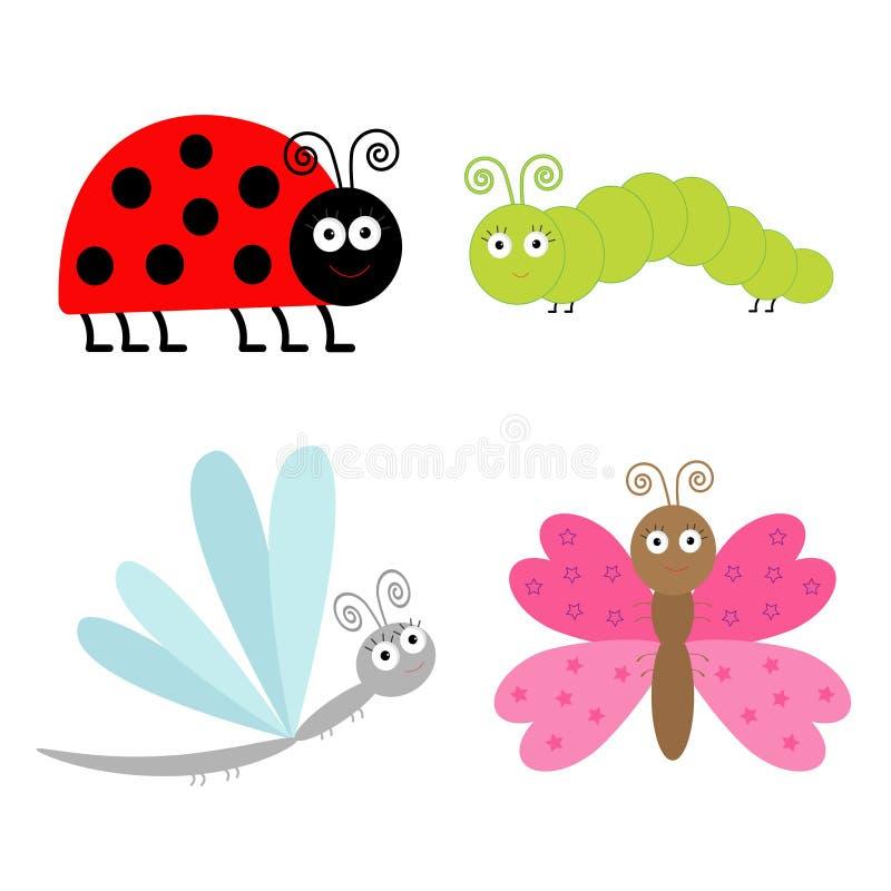Милый комплект насекомого шаржа. Ladybug, dragonfly, бабочка и поставляет еду иллюстрация штока