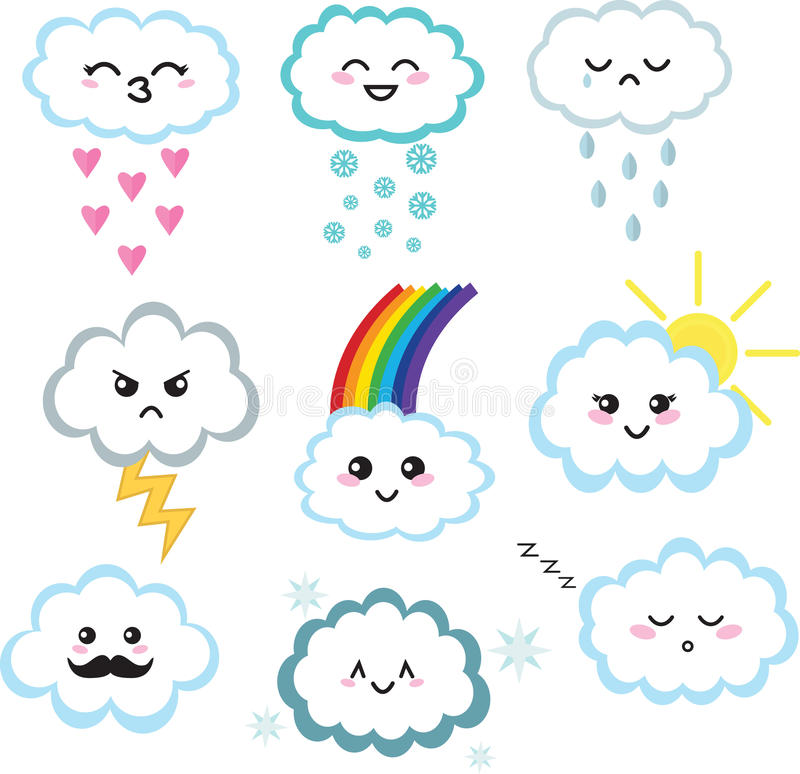 Милый комплект облака kawaii иллюстрация штока