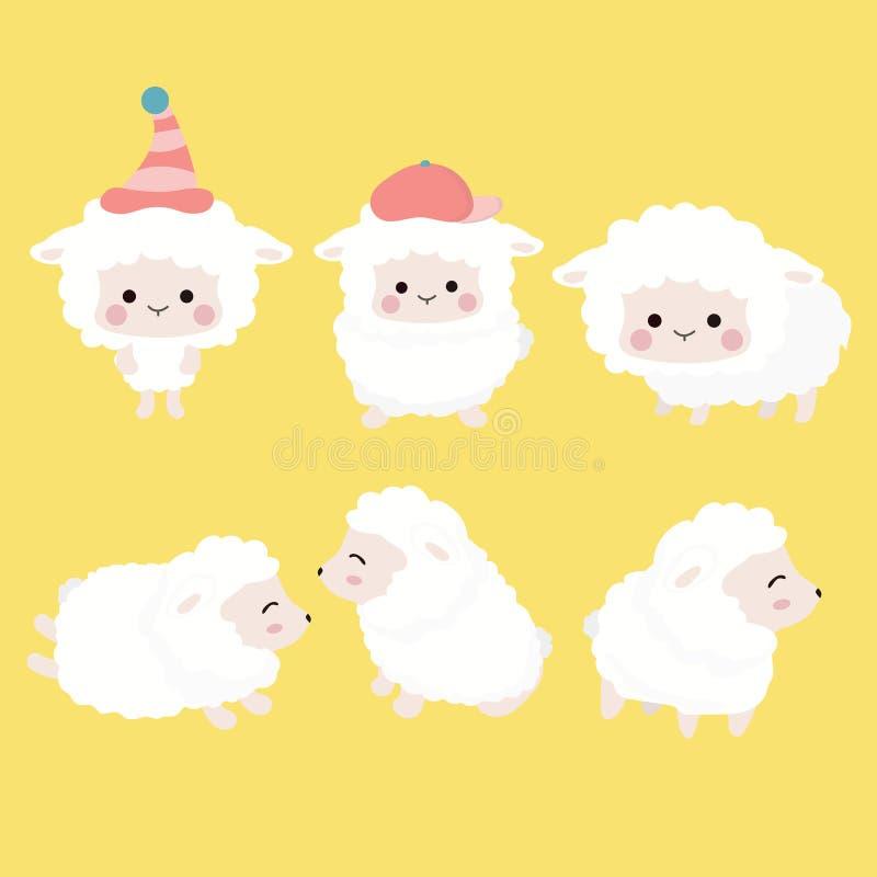 Милый комплект овец шаржа иллюстрация штока