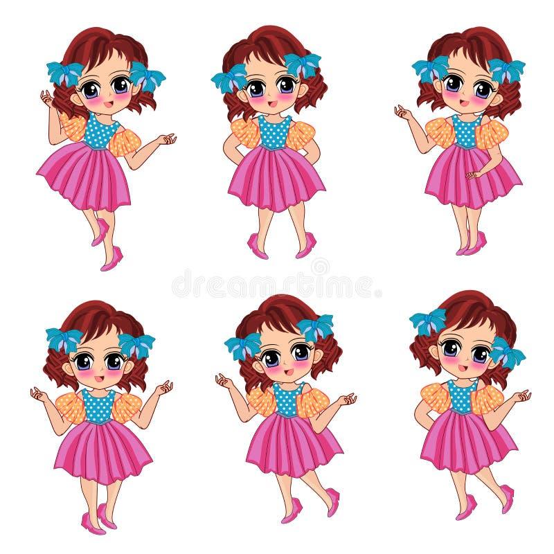 Милый комплект шаржа девушки детей иллюстрация вектора