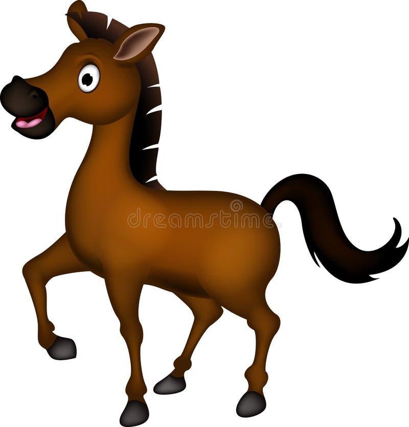 Милый коричневый шарж лошади иллюстрация вектора