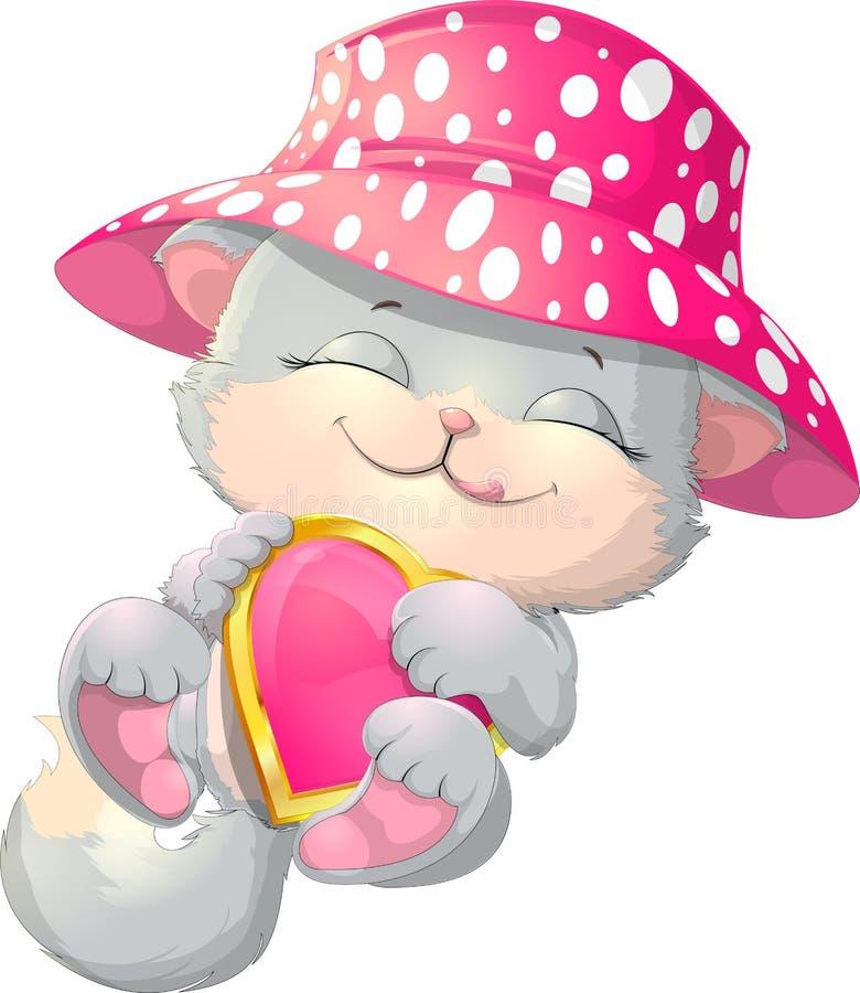 Милый котенок держа сердце бесплатная иллюстрация