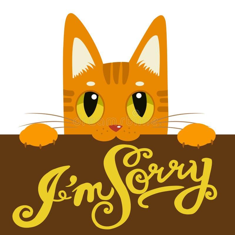 Милый кот держа доску для сообщений я огорченн Текст нарисованный рукой я огорченн иллюстрация штока