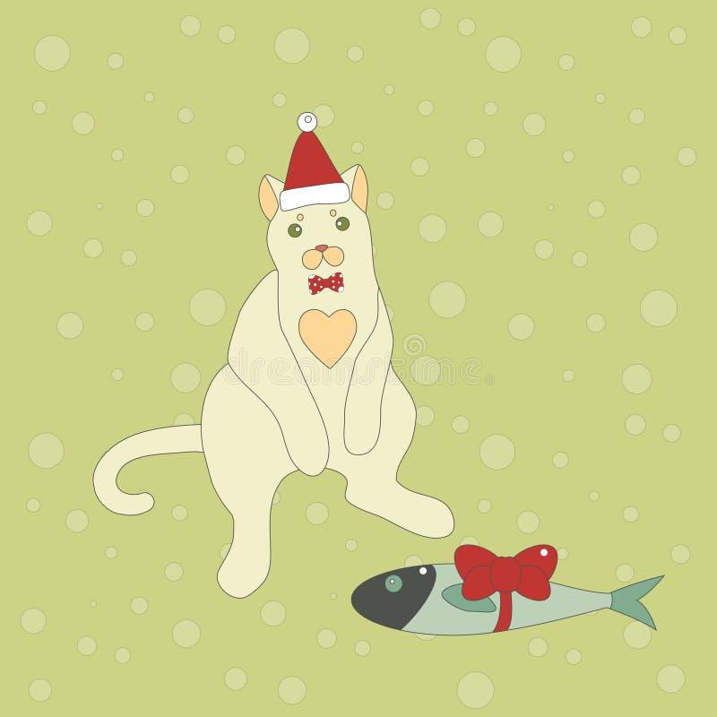 Милый кот рождества с рыбой иллюстрация вектора