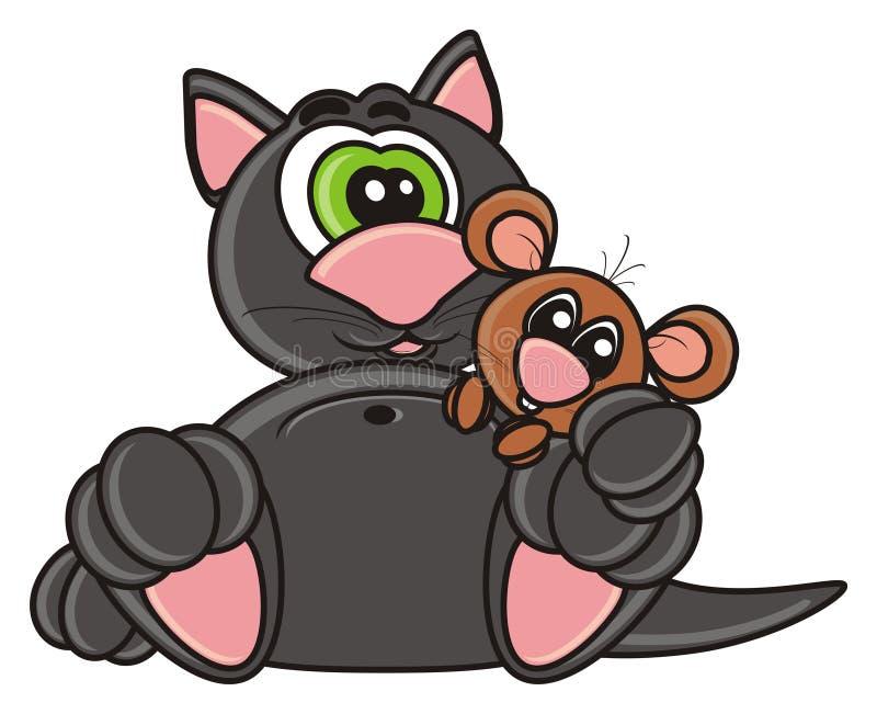 Милый кот сидит с мышью иллюстрация вектора