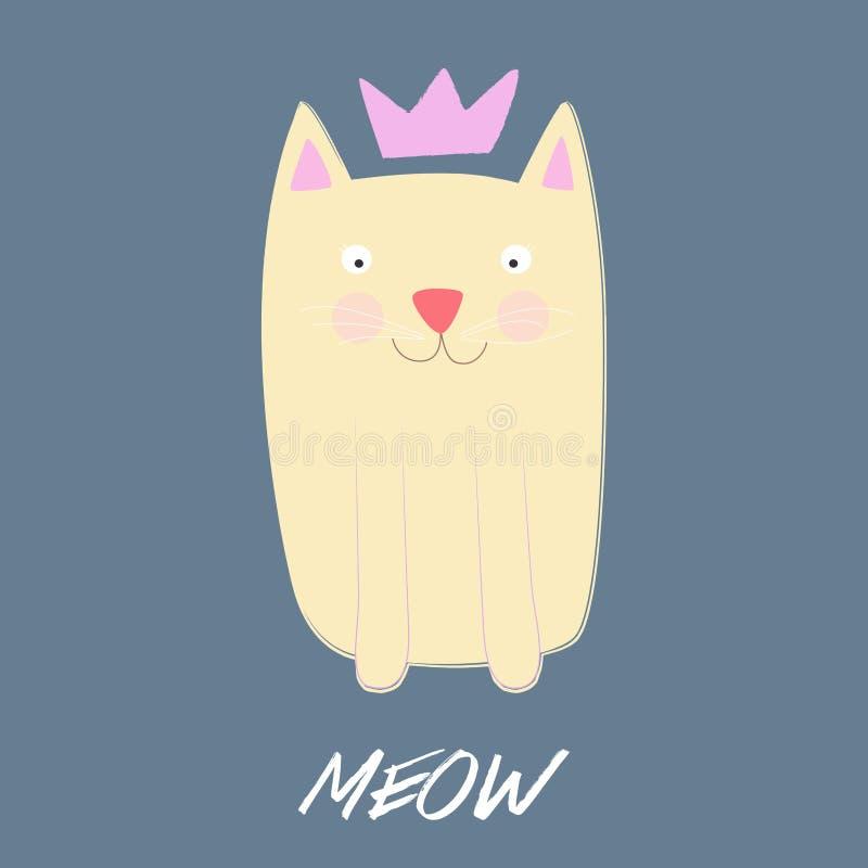 Милый кот с кроной также вектор иллюстрации притяжки corel иллюстрация штока