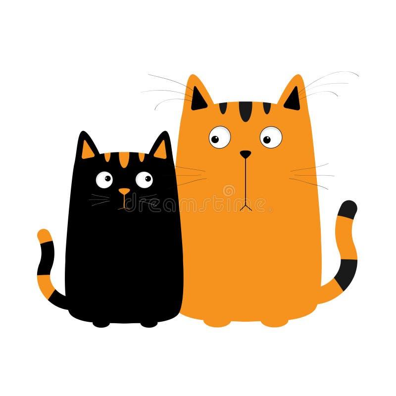 Милый красный оранжевый мальчик кота шаржа и черная девушка киски Пары кота на дате Большой вискер усика Смешной набор символов с бесплатная иллюстрация